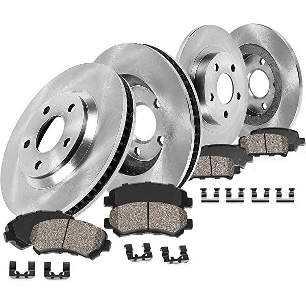 4 Cross-Drilled Disc Brake Rotors Pacifica 8 Ceramic Pads Front+Rear Kit High-End 5lug