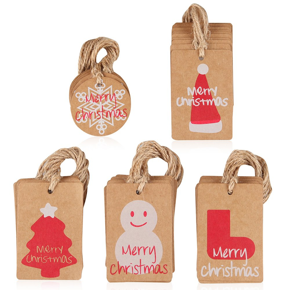 Coogam 50 Pack Brown Kraft Paper Christmas Gift Tags with Twine String Tie on Smooth for Writing - 5 Designs for DIY Xmas Holiday Present Wrap Stamp and Label Package Name Card LYXHB003