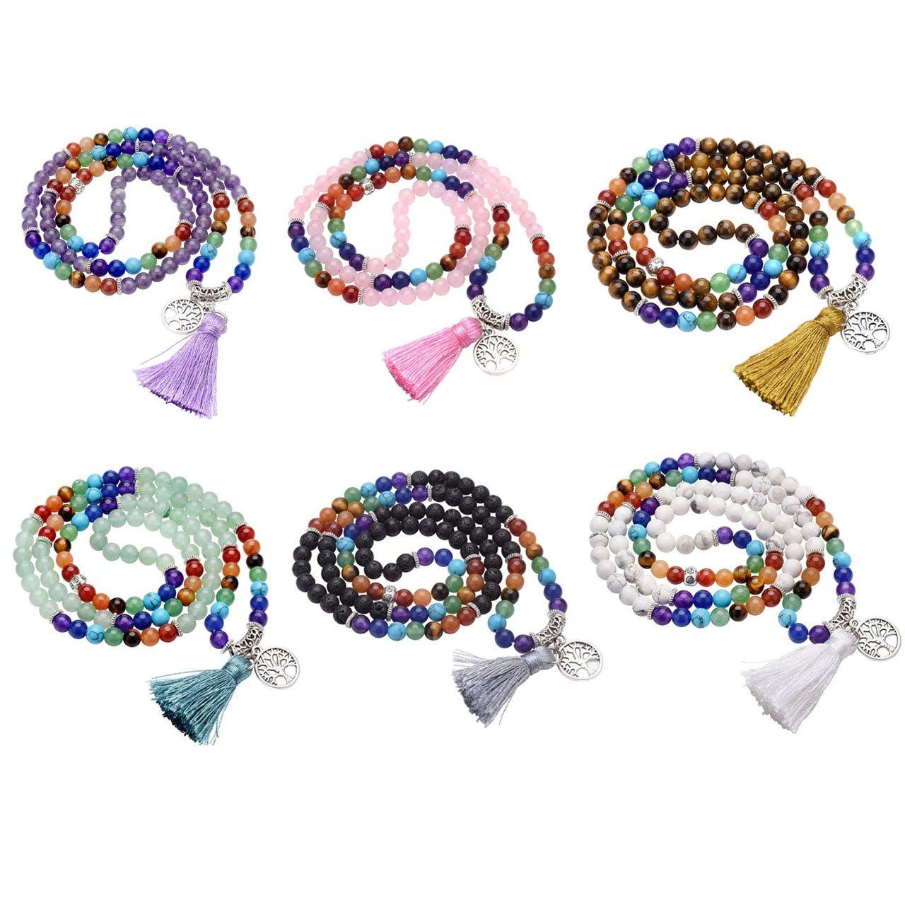 Jovivi 6mm Natural 7 Chakra Healing Crystal Gemstone Buddhist Prayer 108 Beads Tibetan Mala Bracelet Necklace