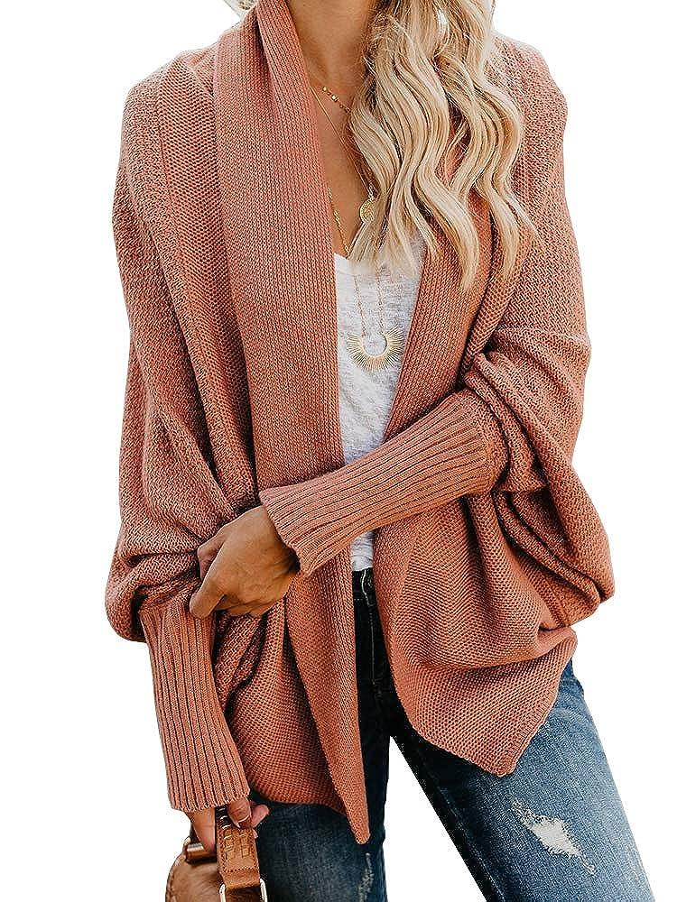Ybenlow Womens Kimono Open Front Cardigan Sweaters Batwing Sleeve Shawl Collared Oversized Sweater Cloak Outwear