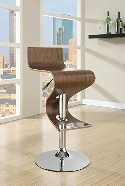 Amazoncom Adjustable Bar Stool Walnut And Chrome Kitchen Dining