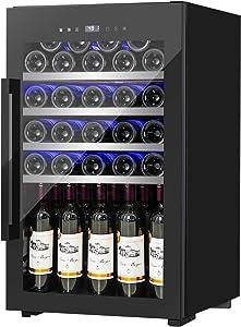 FANCOOL 20 Inch Wine Cooler 63 Bottle Compressor Wine Fridge, Freestanding Wine Cellars w/Beech Shelf Touchscreen Quiet Operation Fridge for Red, White, Champagne or Sparkling Wine 41-68°F, 19.7×19.7×32.5 Inch