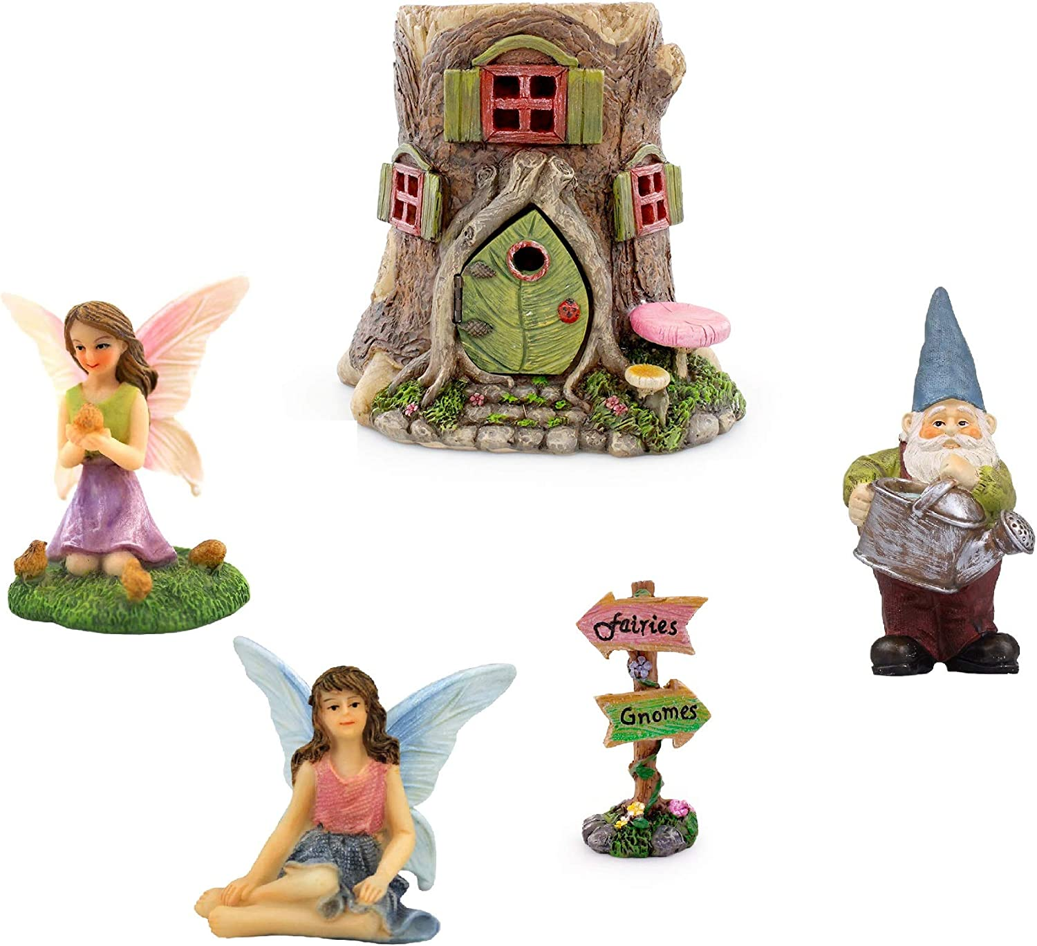 Fairy Garden 5 PC. Starter Kit with Tree House, Fairies, Gnome and Fairy Garden Supplies