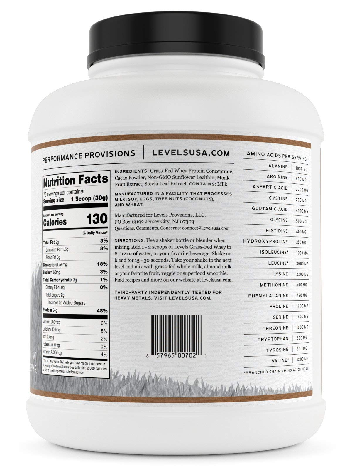 Levels 100% Grass Fed Whey Protein, No GMOs, Pure Chocolate, 5LB by Levels Nutrition (Image #4)