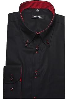 HUBER Umschlagmanschetten Hemd schwarz HU-0012 Regular Fit  Amazon ... 645e0c0903