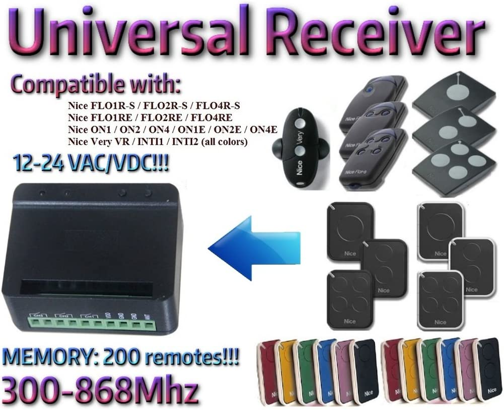 Compatible with NICE FLO1R-S FLO2R-S FLO4R-S FLO1RE FLO2RE FLO4RE ON1 ON2 ON4 ON1E ON2E ON4E INTI VERY VR remote controls! Universal 2-channel receiver Rolling Fixed code 300Mhz-868Mhz 12-24 VAC//DC