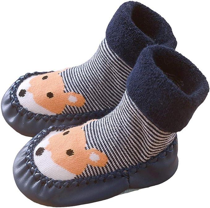 0-10mois//base 12cm FYGOOD Lot de 3 Paires Pantoufles Chaussettes Anti-d/érapantes Chaussons Premier Pas B/éb/é Unisex gris-pingouin rouge-lapin bleu XS