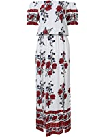 Leadingstar Women Summer Off Shoulder Floral Print Beach Holiday Casual Split Dress