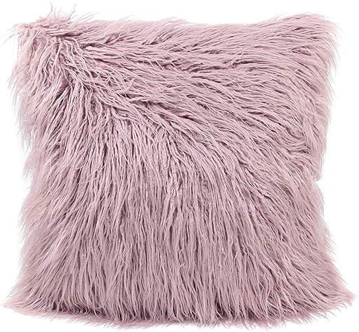 Single//Double Face Plush Faux Fur Home Soft Pillow Case Sofa Throw Cushion Cover