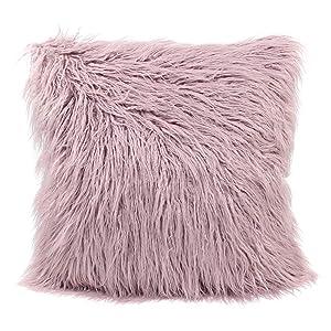 MHJY Faux Fur Pillow Case,Mongolian Fluffy Pillow Cover Soft Plush Throw Pillow Case Cushion Cover Deluxe Home Decor Bed Sofa Car Decorative Pillowcase(18 x 18 Inch)