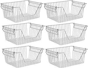 Stacking Baskets Large Wire Baskets Organizer - Cabinet Storage Baskets Organizer Sturdy Metal Wire Pantry Freezer Bin for Food, Fruit, & Vegetable Safe Organization set of 6
