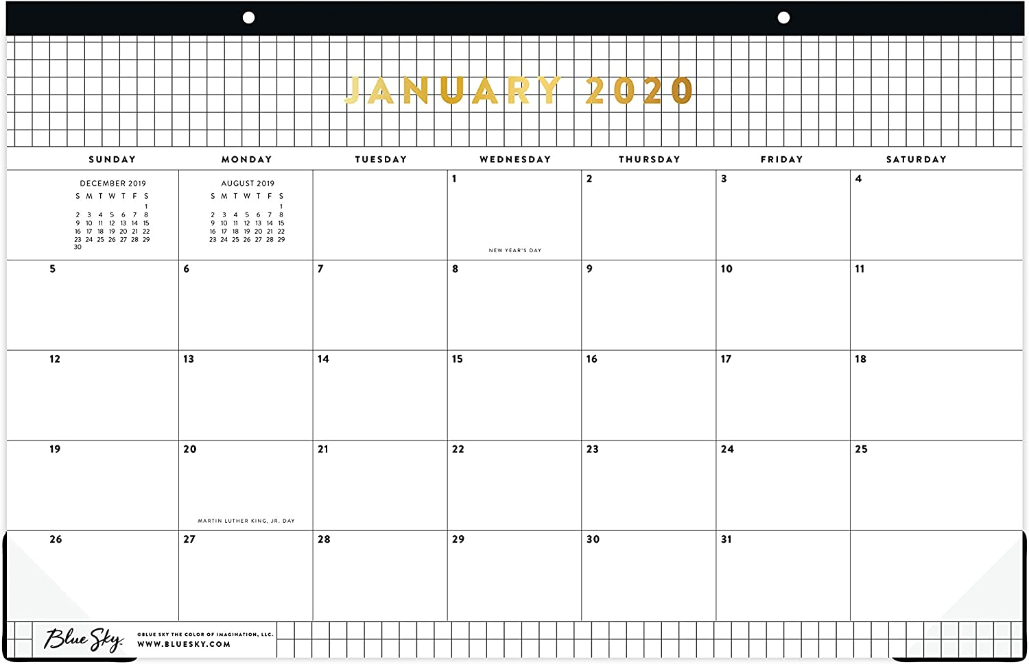 Blue Sky 2020 Monthly Desk Pad Calendar Grid White 17 x 11 Two-Hole Punched