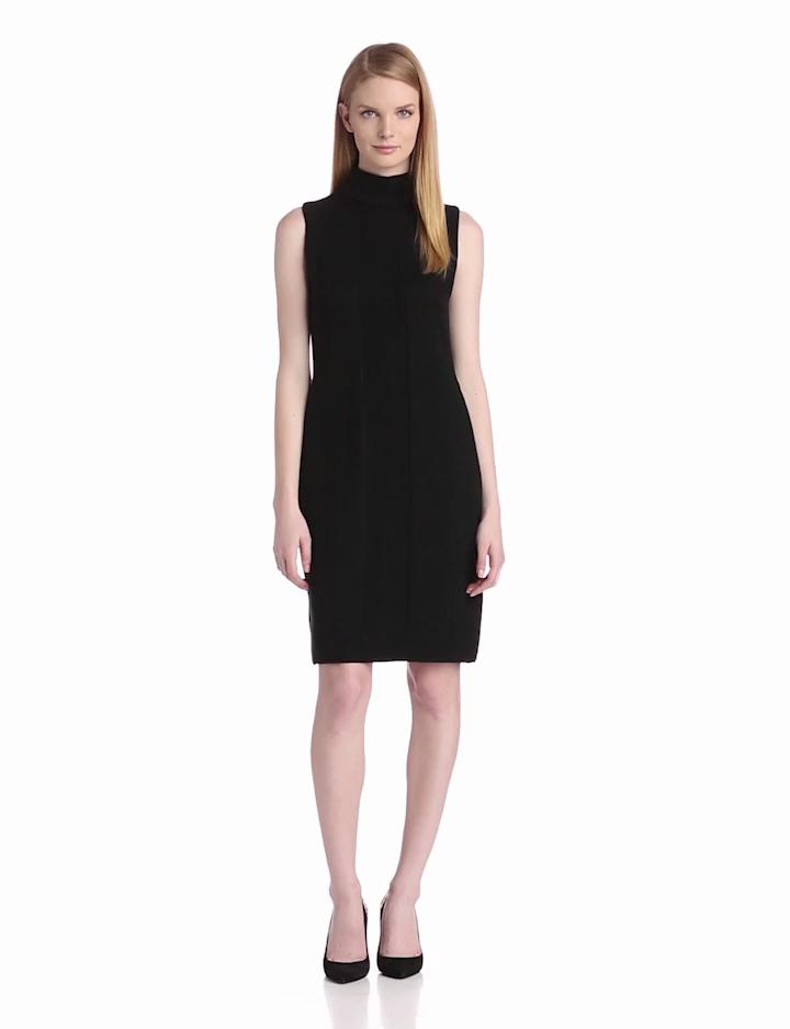 Calvin Klein Womens Sleeveless Turtle Neck Dress, Black, X Small