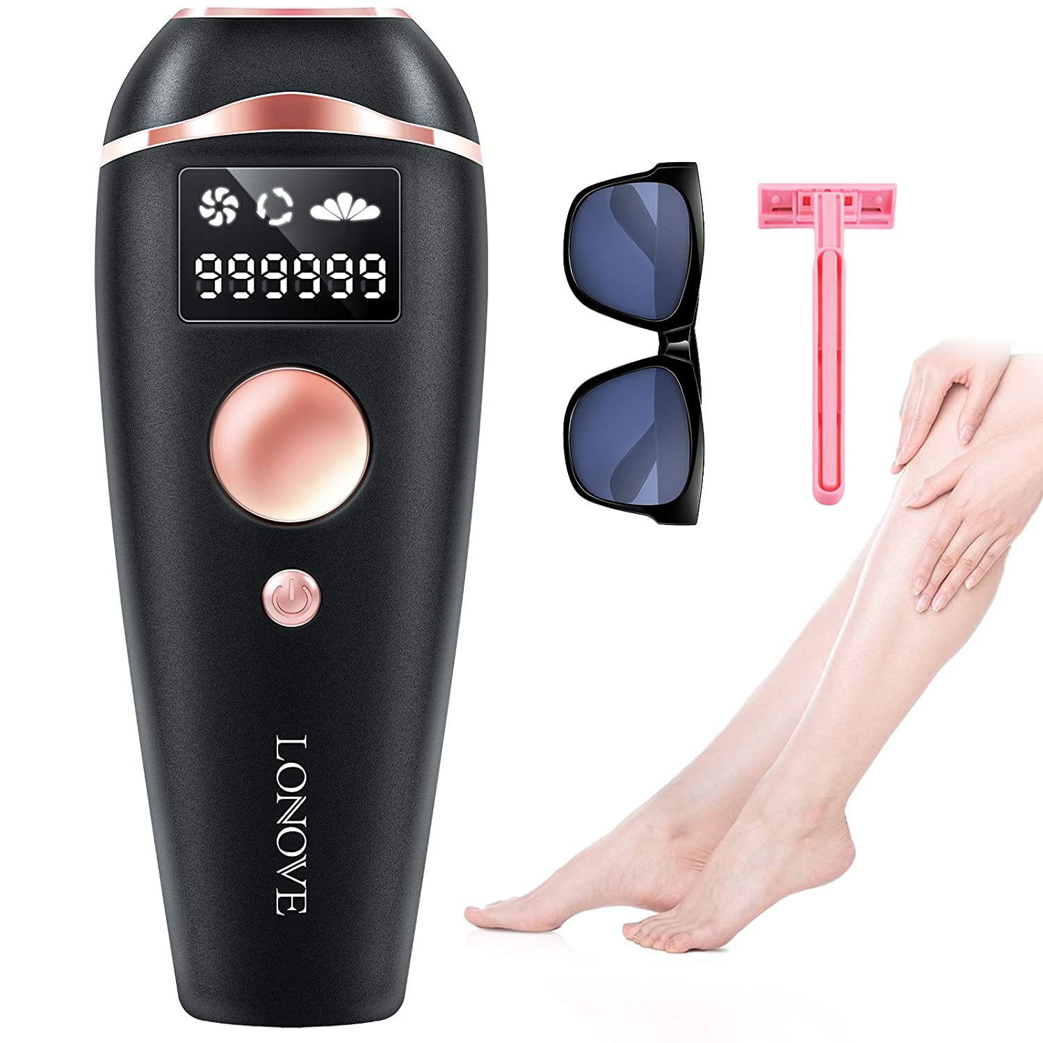 IPL Hair Removal for Women and Men, Permanent At Home Laser Hair Removal Upgraded 999,999 Flashes Painless Hair Remover Device for Facial Legs Arms Armpits Body At-Home Use