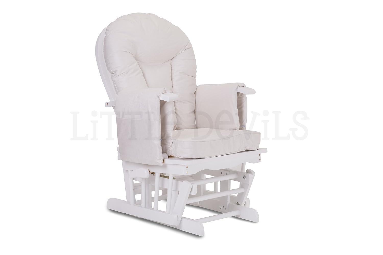 Fauteuil Bascule Bois Rocking Chair Beige Allaitement Bébé Avec Mécanisme Verrou & Repose Pied Assorti Planeur chaise