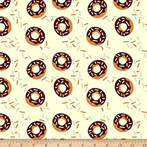 Fabri-Quilt Studios Food Truck Donuts Cream, Fabric by the Yard