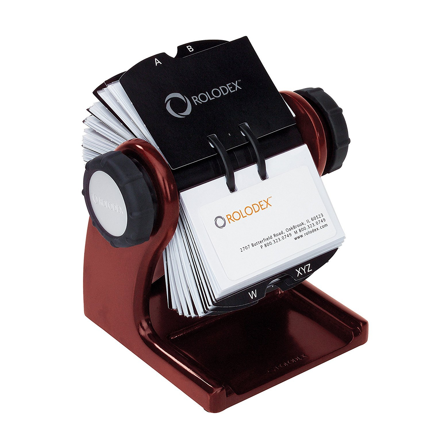 Rolodex Wood Tones Collection Open Rotary Business Card File (2.63 by 4 Inch), 200-Card, Mahogany (1734242) 2-Pack