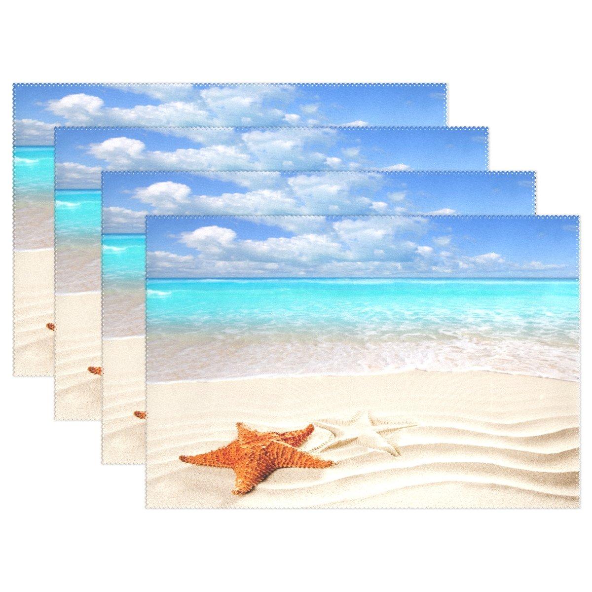 Summer Vacation Caribbeanヒトデover wavy white sand beach耐熱表プレースマットStain Resistantのテーブルマット洗濯可能食べマットホームキッチン 1 マルチ1 B076KBSSRS