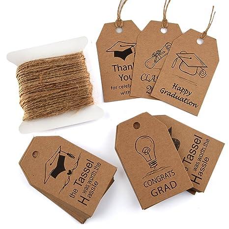 KUUQA 60 pezzi regalo di laurea tag regalo di carta kraft grad tag con juta  naturale 657ee427f1fe