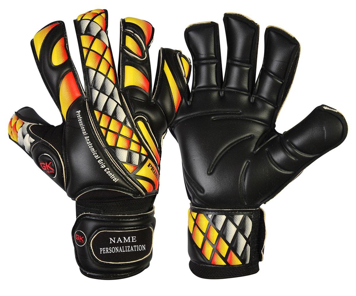 GK Saver Prime Fire Fußball-Torwarthandschuhe in schwarz mit Flachschnitt-Fingerschutz in den Größen 6, 7, 8, 9, 10, 11
