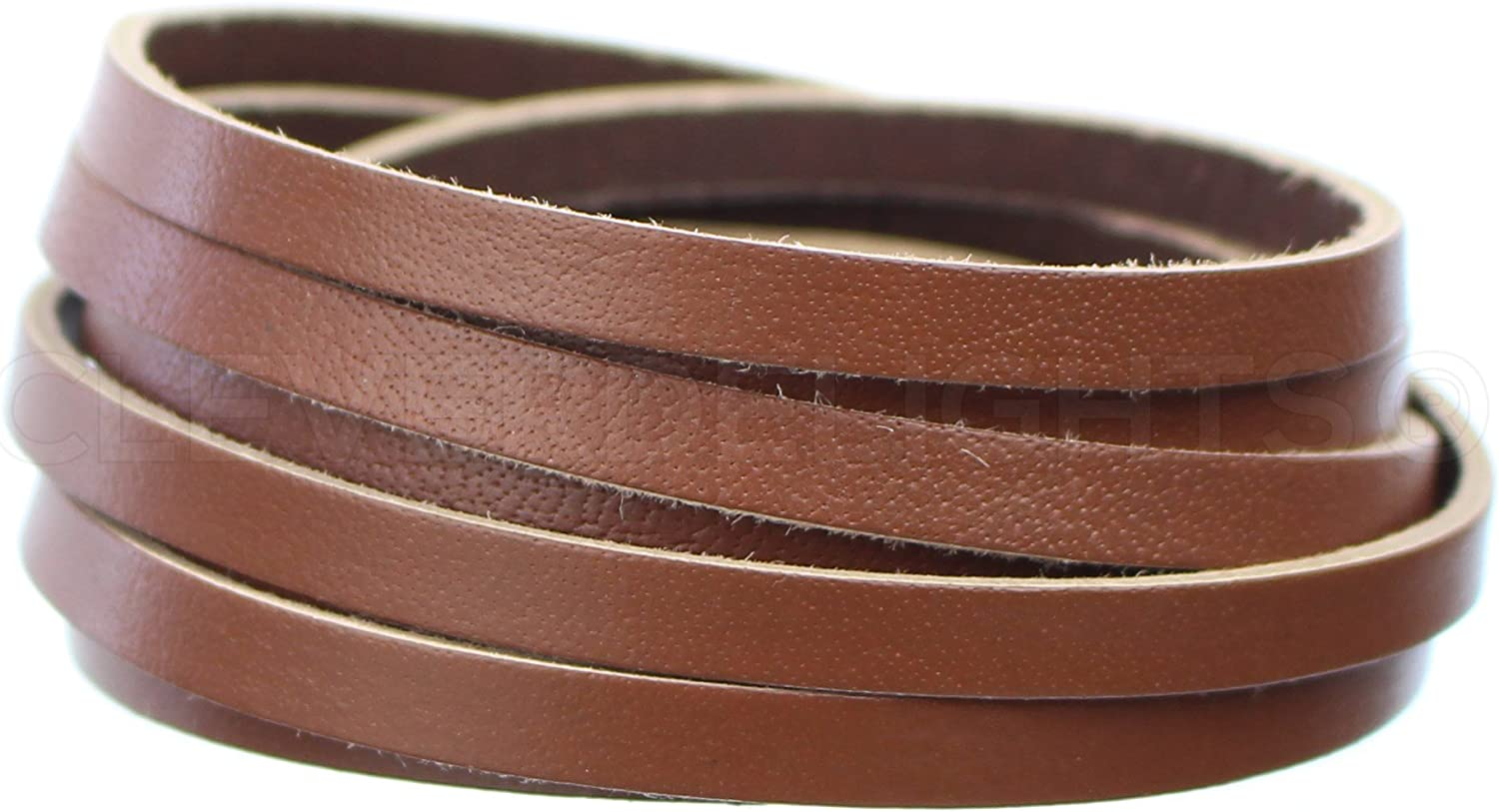CleverDelights 1//4 Genuine Leather Flat Cord Brown 50 Feet 6mm Cowhide Leather Strap