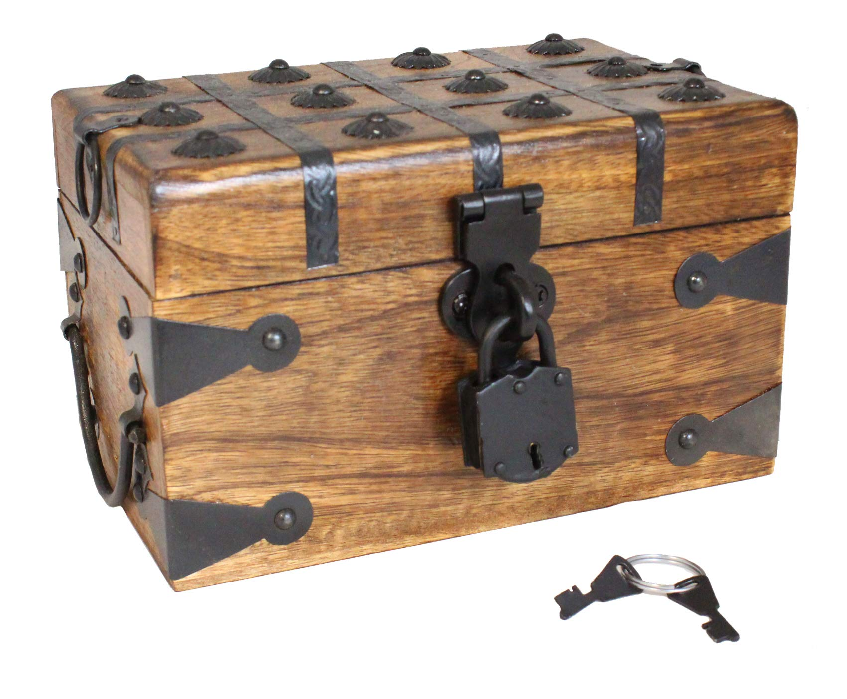 Well Pack Box Wooden Pirate Treasure Chest 8'' x 6'' x 5'' Medium Authentic Includes Antique Strong Iron Lock With 2 Skeleton Keys Great For Parties, Halloween, Holidays and Birthdays by Well Pack Box