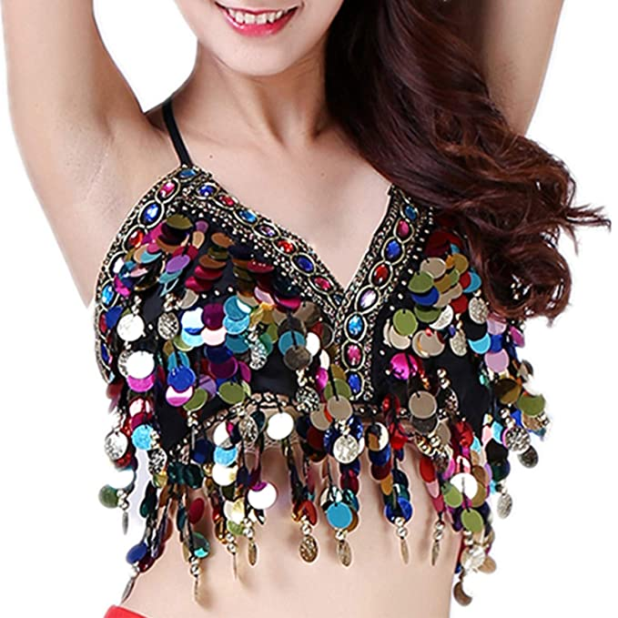 e28d5f3b84 Image Unavailable. Image not available for. Color  Anlydia Sequin Halter Bra  Top Salsa Belly Dance Boho Festival ...