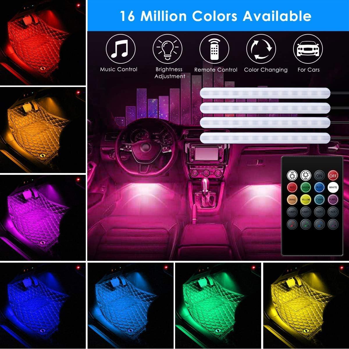 kit di illuminazione RGB 5050 SMD LED a nastro Striscia di luci LED per auto USB 5 V 4 pezzi AveyLum per la sincronizzazione della musica e il vano piedi del cruscotto