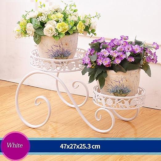 Escalera en flores de hierro porte-pot con flores salón exterior balcón porte-fleurs (47 * 27 * 25.3 cm) blanco: Amazon.es: Hogar