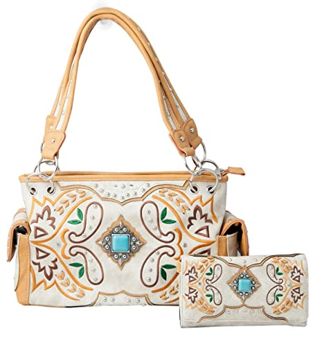 2f398309aadd HW Collection Western Purse Turquoise Concho Floral Embroidery ...