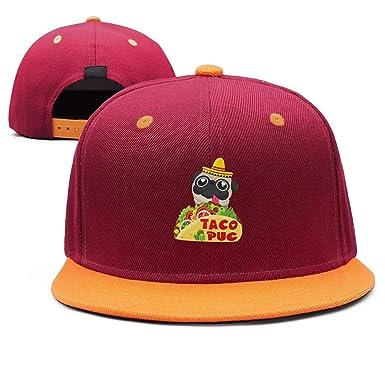 D6G5F Funny Pug Dog Mexican Taco Snapback Hats Hip Hop Style Dad Maroon  Vintage Cap 8d404a0e93e
