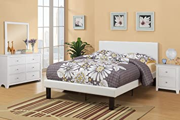 white faux leather padded full size bed frame with 13 slats and rails and footboard