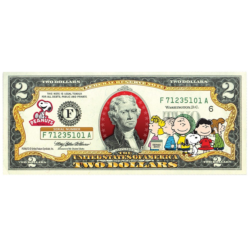 Peanuts Charlie Brown Gang Legal Tender Us 2 Bill Licensed Snoopy