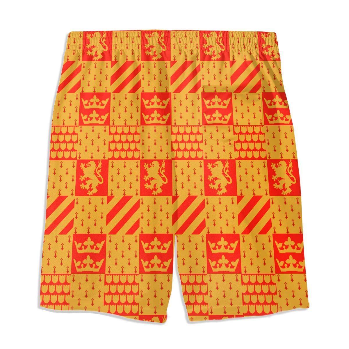 HFSST Chinese Lion Gules Teen Swim Trunks Bathing Suit Shorts Board Beach