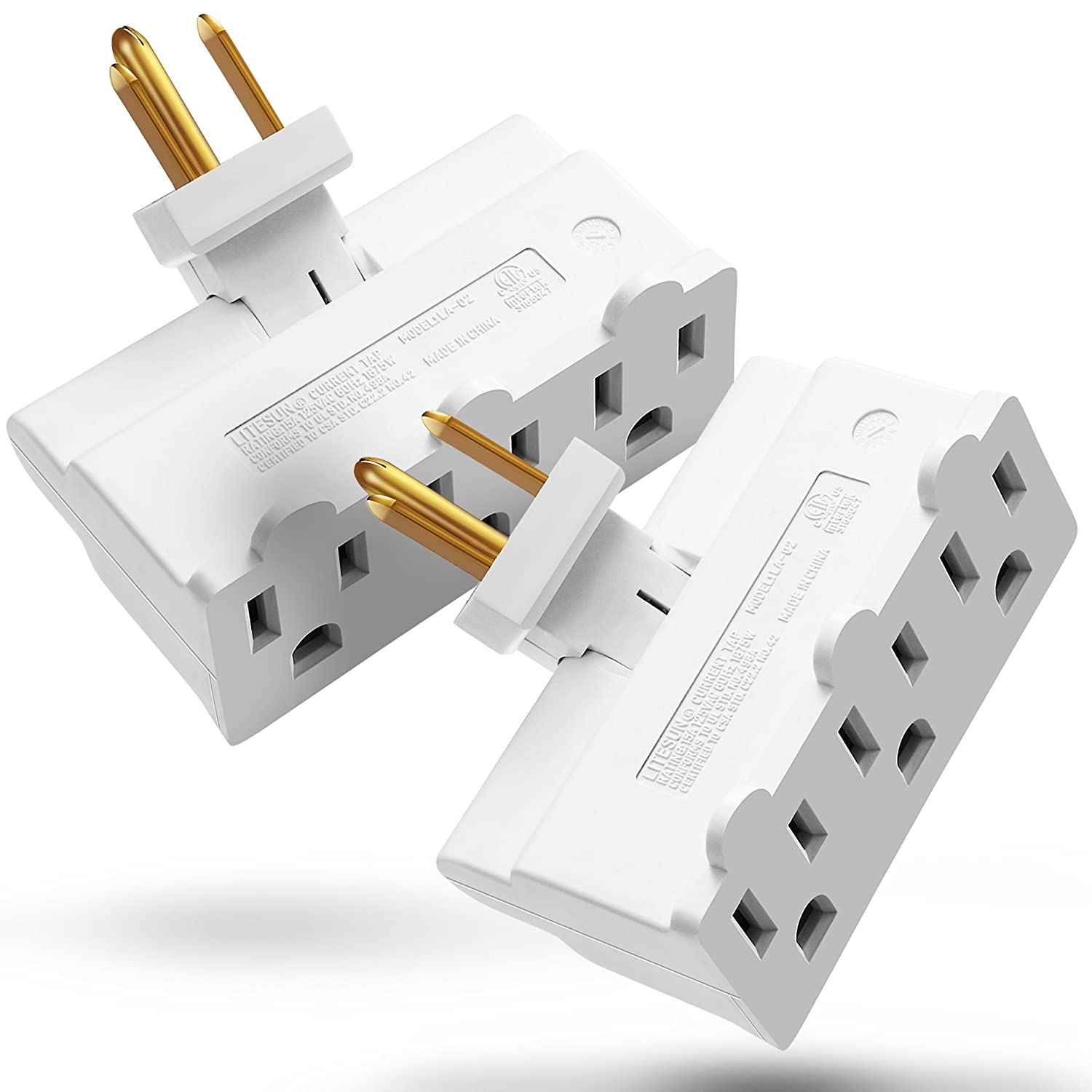 3 Outlet Wall Adapter Tap, Fosmon 3-Prong Swivel Grounded Indoor AC Mini Plug, ETL Listed - White