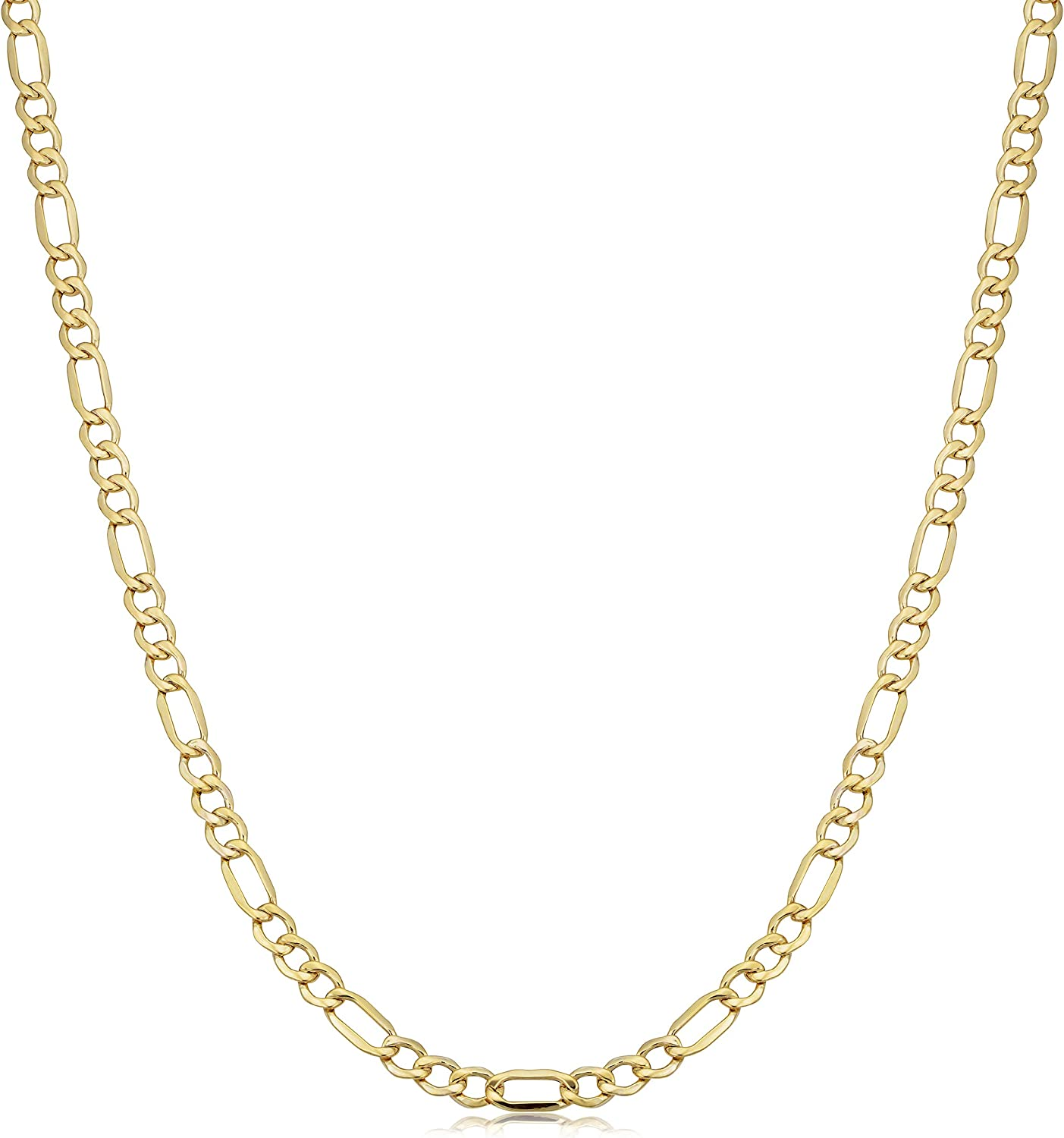 Mens 10k Yellow Gold Lightweight Figaro Chain Necklace