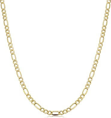 Amazon Com Kooljewelry 10k Yellow Gold Figaro Link Chain Necklace 3 5 Mm 18 Inch Chain Necklaces Jewelry