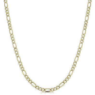 52ed526eef44 Amazon.com  Kooljewelry 14k Yellow Gold Figaro Link Chain Necklace ...