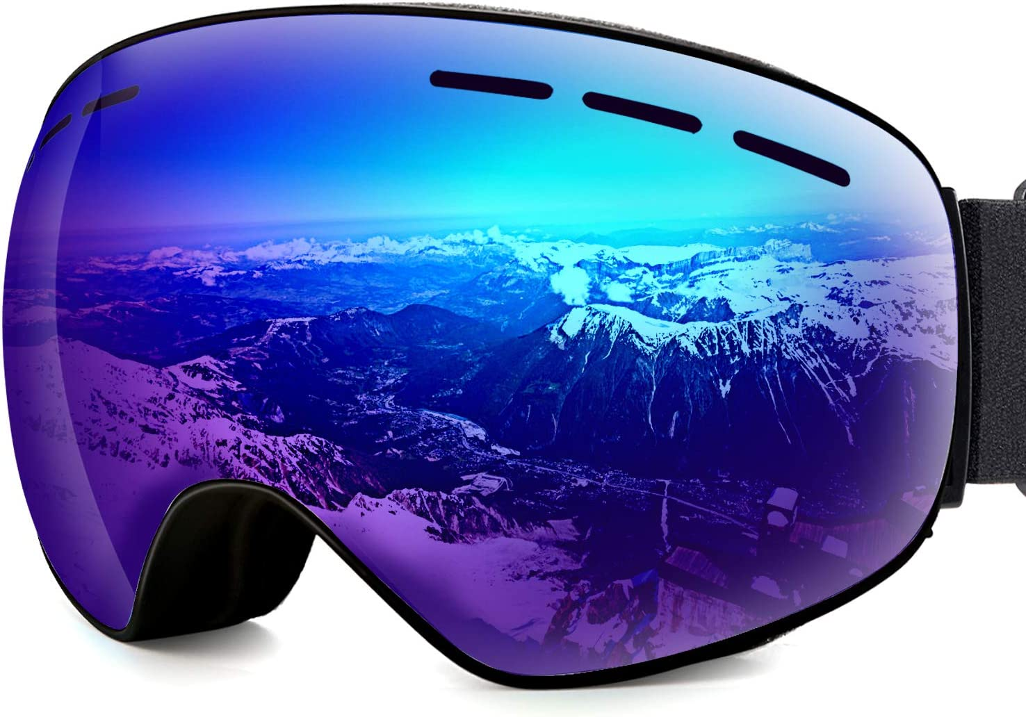 Pellor Ski Goggles Snow,Snowboard Goggle with Anti-Fog Spherical Dual Lens 100 UV400 Protection,Snow OTG Goggles for Men and Women