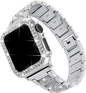 Falandi for Bling Apple Watch Band with Case 42mm iWatch Series 5/4/3/2/1, Dressy Diamond Rhinestone Jewelry Metal Bracelet Adjustable Wristband, Silver