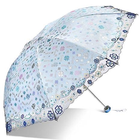 LXY Peso ligero tres paraguas plegable mujer lluvia y doble propósito Paraguas (Color : Blue