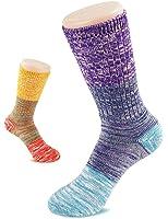 VERO MONTE 4 Pairs Patterned Womens Socks Crew Cut - Colorful Soft Cotton Socks