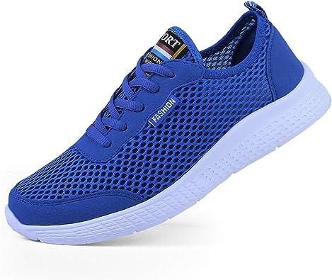 Kauson Zapatillas Deporte Hombres Mujer Gimnasio Running Zapatos para Correr Transpirables Sneakers Negro Azul Gris 35-50: Amazon.es: Zapatos y complementos