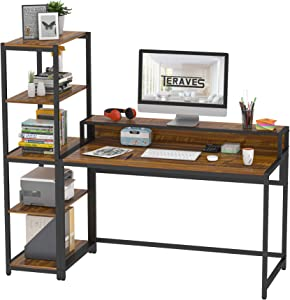 Teraves Computer Desk with 5 Tier Shelves,Reversible Writing Desk with Storage 47 Inch Study Table for Home Office Independent Bookcase and Desk for Multiple Scenes (Desk+Shelves, Teak)