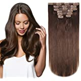 HEESAGA 12 Inch Clip in Extensions, Real Human Hair Extensions for Women Beauty, 80 Grams/2.8 Ounce 7 Pieces with 16 Clips per Set (#4 Medium Brown)