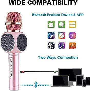 JASZW Micrófono inalámbrico Karaoke, máquina portátil de Karaoke ...