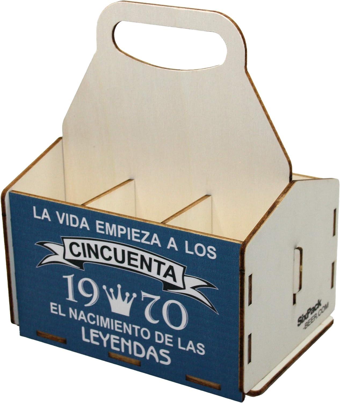 Portacervezas de madera, paquete de seis cervezas, caja portadora de seis, portacervezas de seis, regalo cerveza, cumpleaños 50 años, regalo 50 años, de madera, 50 cumpleaños, cumpleaños hombre, 1970