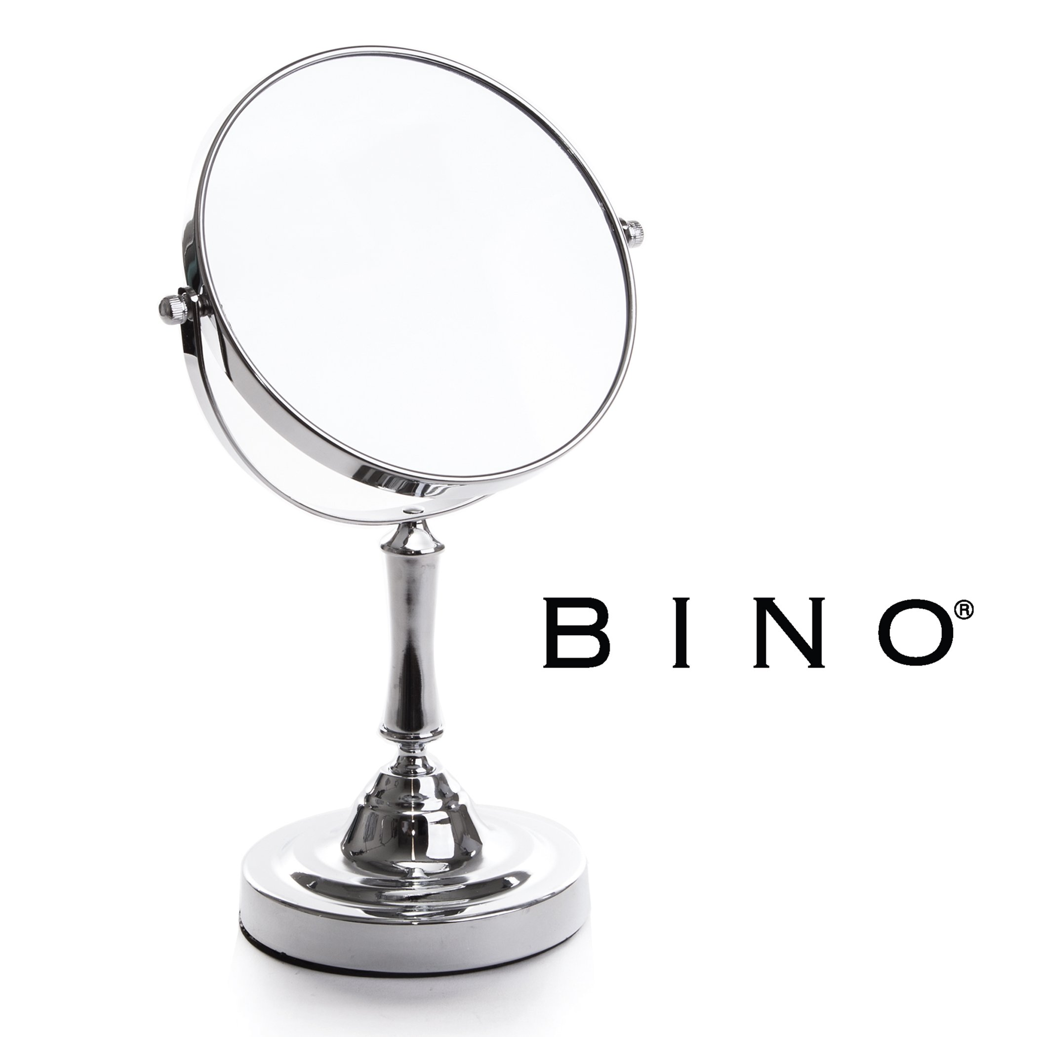 BINO 'The Academic' 6.5-Inch Double-Sided Swivel Tabletop Vanity Mirror with 5x Magnification, Chrome