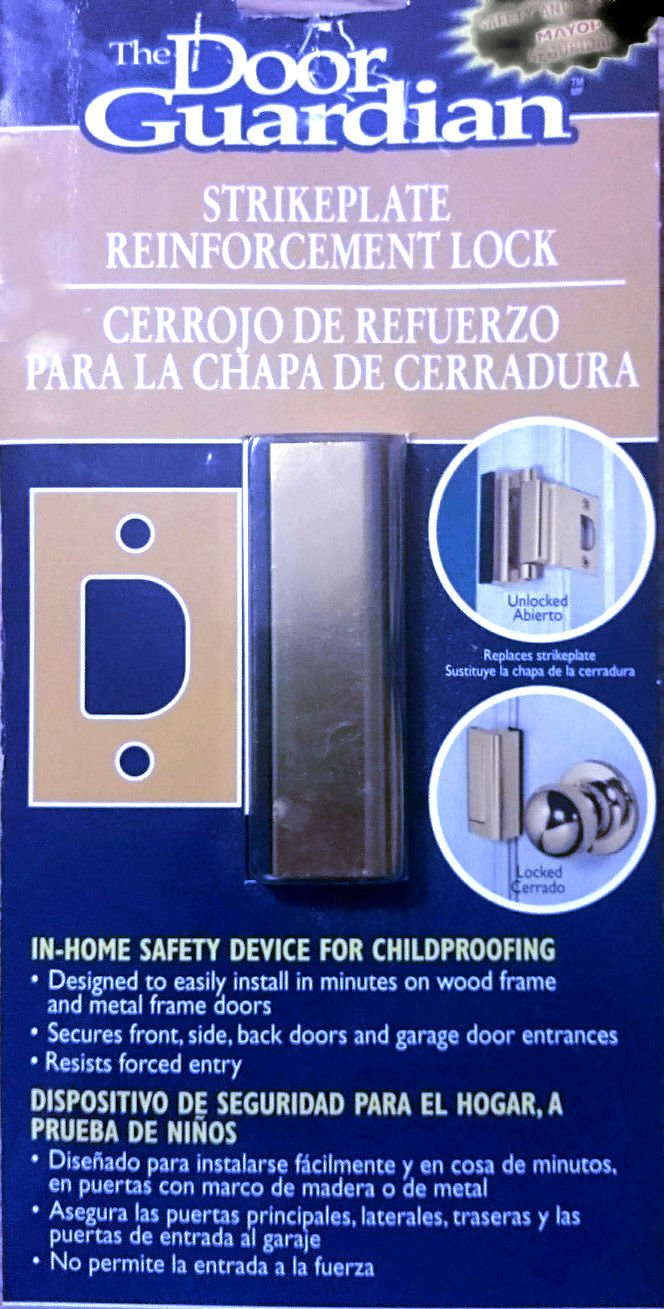Amazon.com: Uniguardian The Door Guardian Strike Plate Reinforcement Lock for In-home Safety Device for Childproofing Brass: Home Improvement