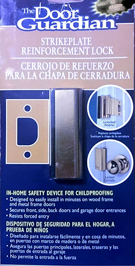 Uniguardian The Door Guardian Strike Plate Reinforcement Lock for In-home Safety Device for Childproofing Brass
